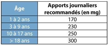 Apport recommandés en magnésium nutrixeal-info