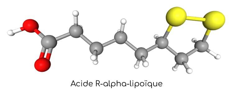 Acide alpha-lipoïque : structure 3D.