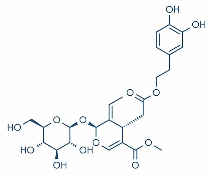 Structure moléculaire de l'oleuropéine contenue dans les feuilles d'olivier.