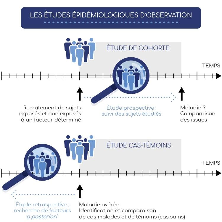 Les études épidémiologiques d'observation peuvent être des études de cohortes ou de cas témoins.