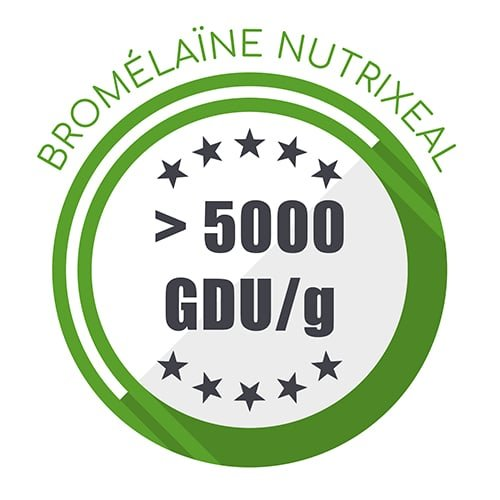 Bromélaïne Nutrixeal : plus de 5000 gdu/g.