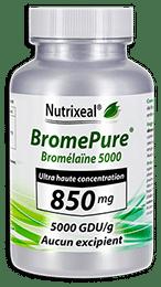 BromePure Nutrixeal : Bromelaïne 5000 GDU/g, 850 mg par gélule.