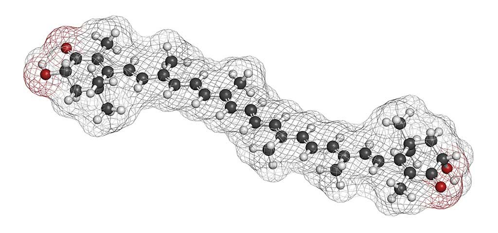 Structure chimique 3D de l'astaxanthine