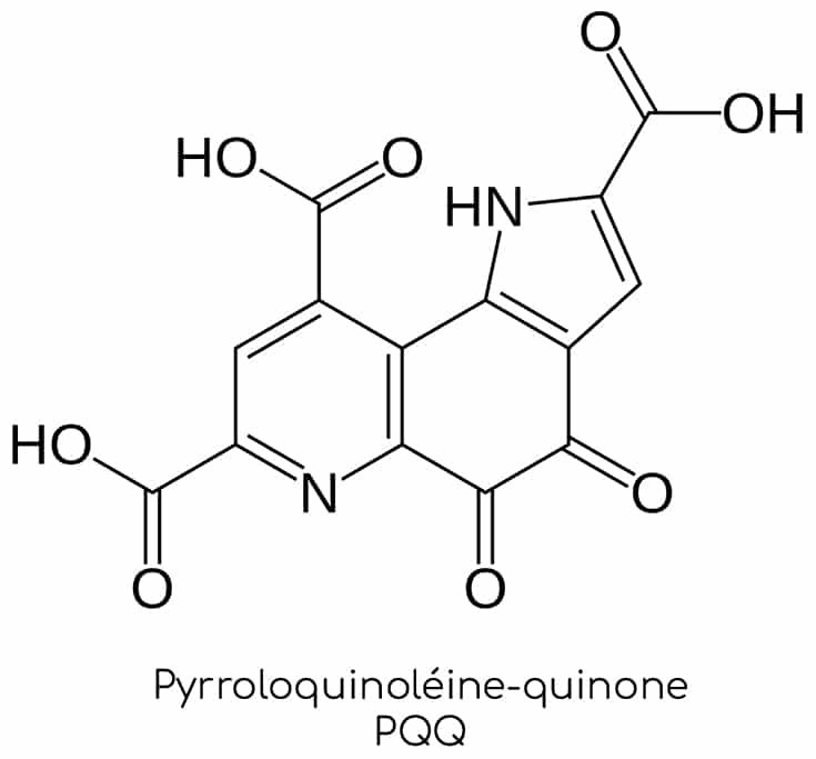 Structure moléculaire de la pyrroloquinoline-quinone pqq.