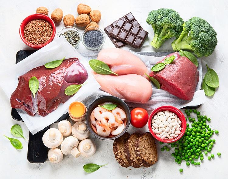 Aliments présentant une haute teneur en fer.
