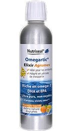 Omegartic Elixir Agrumes Nutrixeal, des omega-3 liquide, riche en epa et dha.